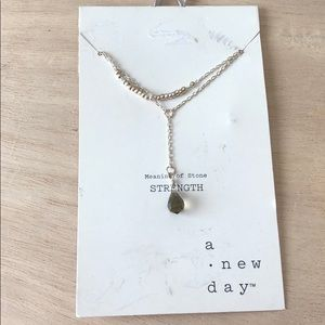 A new day strength stone silver green necklace